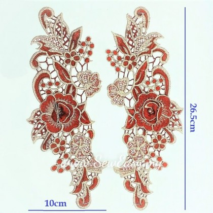 3D Metalic Flower Embroidery Patch Lace (1 Pair)