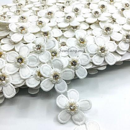 <Length 45cm>  Chemical 3D Flower Lace Trimming (LT-SL4797)