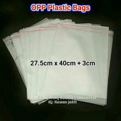 100pcs BOPP Plastic Bags (27.5cm x 40cm) - TShirt, Baju Kurung, Jubah