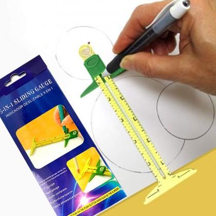 5-in-1 Sliding Gauge Measuring Sewing Tool